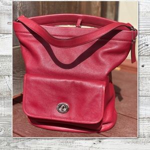 COACH LEGACY ARCHIVAL BUCKET DUFFLE BAG RED 21193